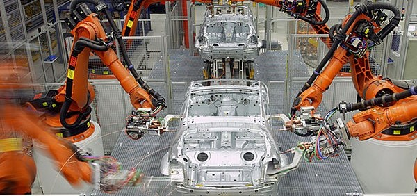 Robotic automation in an automotive factory