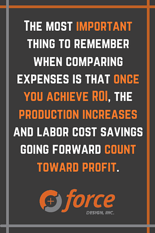 The most important thing to remember when comparing expenses is that once you achieve ROI, the production increases and labor cost savings going forward count toward profit.